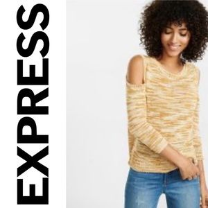 NWT {EXPRESS} Space Dyed Cold Shoulder Sweater